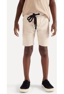 Bermuda Infantil Reserva Mini Pf Moletom Terra Masculina - Masculino-Bege