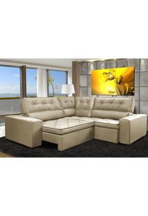 Sofa De Canto Retrátil E Reclinável Com Molas Cama Inbox Austin 2,50M X 2,50M Suede Velusoft Bege