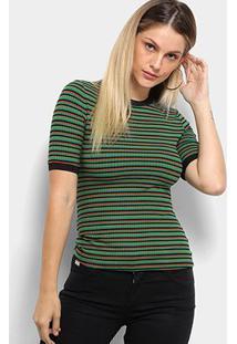 Camisetas Colcci Feminino Camiseta Canelada Listrada-340103635 - Feminino