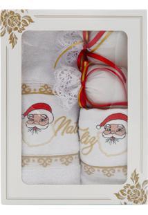 Kit Toalha De Rosto Toalha Lavabo E Sachê Perfumado Natal - Appel - Papai Noel - Branco