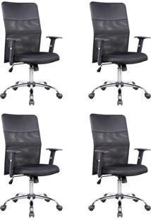 Conjunto Com 4 Cadeiras De Escritório Diretor Giratórias Com Braços Ajustáveis Vancouver Preta