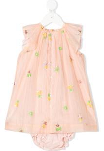 Bonpoint Vestido Com Tule E Estampa Floral - Rosa