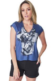 T-Shirt Celestine Estampada Flores Azul