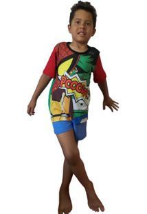 Pijama Curto Infantil Inspirate Super Heróis - Masculino-Vermelho+Azul