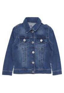 Jaqueta Jeans Jeans Malwee Kids Menino Estonado Azul
