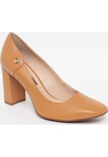 Sapato Em Couro- Marrom Claro- Salto: 8Cmjorge Bischoff