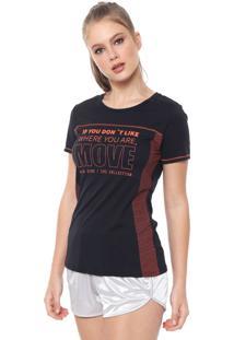 Camiseta Alto Giro Recortes Preta/Laranja