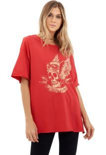 Camiseta John John Pilot Skull Malha Vermelho Feminina (Vermelho Medio, M)