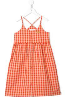 Tiny Cottons Vestido Xadrez Com Logo Bordado - Laranja