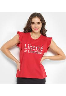 Camiseta Triton Liberté Or Liberdade Feminina - Feminino-Vermelho