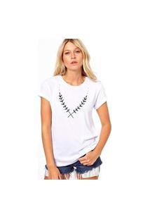Camiseta Coolest Pequena Folhagem Branco
