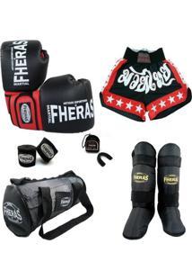 Kit Muay Thai Luva Bucal Bandagem Shorts Caneleira Bolsa 08 Oz - Unissex