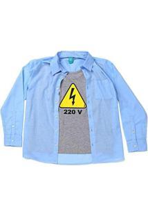 Camisa Jokenpô Infantil Cambraia 220 Volts Masculina - Masculino-Azul Claro