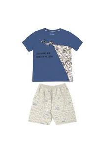 Pijama Infantil Abrange Tubarão Azul E Mescla Abrange Casual Azul
