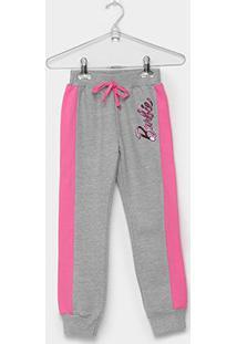 Calça Moletom Fakini Barbie Infantil - Feminino-Mescla