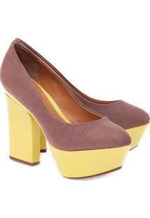 Sapato Meia Pata Liso - Rosa Escuro & Amareloschutz