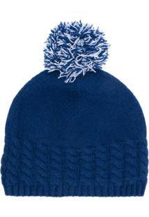 N.Peal Gorro De Cashmere Com Pompom - Azul