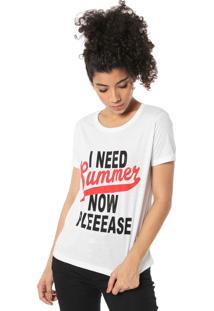Camiseta Fiveblu Estampada Branca