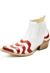 Bota Country Top Franca Shoes Bico Fino Verniz Masculino - Masculino-Branco+Vermelho