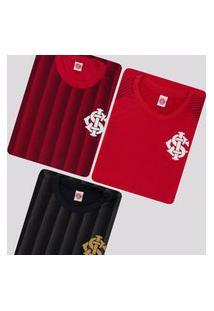 Kit De 3 Camisas Internacional Vermelha E Preta