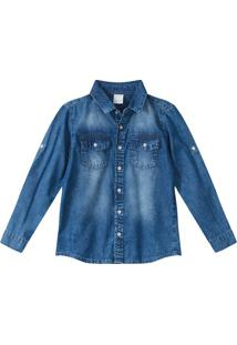Camisa Jeans Estonada Menino Malwee Kids Azul Escuro - 3