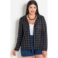 53d056de48 Blazer Xadrez Grid Plus Size Marguerite