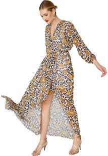 Vestido Longo De Chiffon Manga Longa