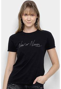 Camiseta Calvin Klein Now Or Never Feminina - Feminino-Preto