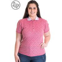 Camisa Polo Konciny Feminina Plus Size Piquet Estampado 96802 Vermelho 4d697751fde63