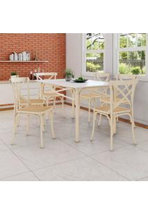 Conjunto De Mesa De Jantar Com 6 Cadeiras E Tampo De Madeira Katrina Bege