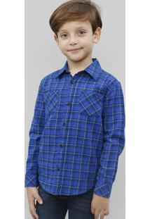Camisa Infantil Estampada Xadrez Com Bolso Manga Longa Azul