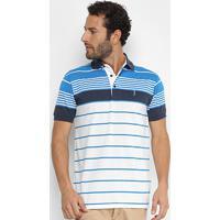 Camisa Polo Aleatory Fio Tinto Listrada Masculina - Masculino-Branco+Azul dda3af345b5b9