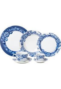 Aparelho De Jantar De Porcelana Super White Santorini Wolff – 42 Peças