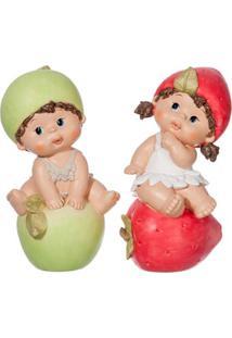 Escultura Udecor Crianças Sentadas - Jogo Com 2 Peças Verde