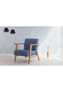 Poltrona Pequena Com Braços E Pés Palito Tecido Azul Claro - Verniz Amendoa \ Tec.930 - Lótus 73X72X83 Cm