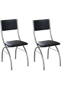 Conjunto Com 2 Cadeiras Dubbo Preto E Cromado