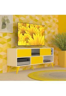 Rack Vivva Branco E Amarelo 135 Cm