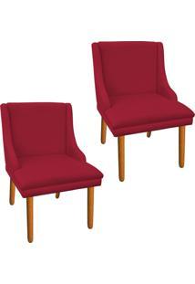 Kit 02 Cadeira Poltrona Decorativa Liz Suede Vermelho - D'Rossi