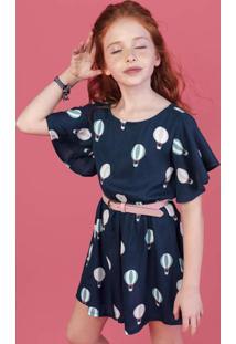 Vestido Infantil Menina Em Tecido Crepe Hering Kids