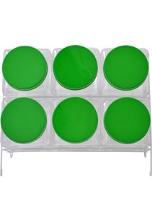 Baleiro Plástico 06 Bocas Quadrado Fixo Tampas Verde