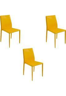 Kit 3 Cadeiras Decorativas Sala E Cozinha Karma Pvc Amarela - Gran Belo - Amarelo - Dafiti
