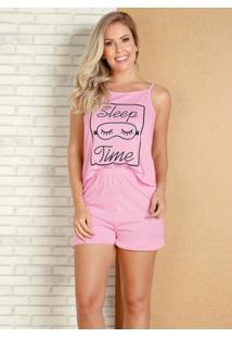Pijama De Alcinha Rosa Com Estampa Localizada