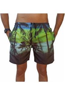 Bermuda Short Coqueiro Moda Praia Relaxado Estampado Masculina - Masculino-Preto+Verde Claro