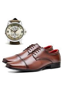 Sapato Social Elegant Com Relógio New Dubuy 807La Marrom