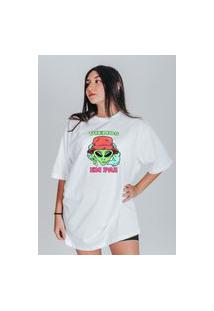 Camiseta Feminina Oversized Boutique Judith Viemos Em Paz Branco