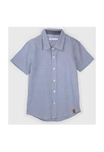 Camisa Malwee Kids Infantil Listrada Azul/Branco