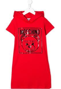 Moschino Kids Vestido De Moletom Com Estampa Teddy Bear - Vermelho