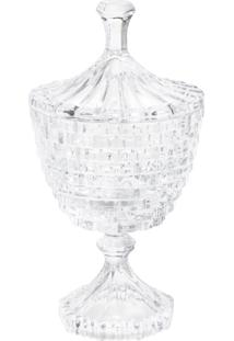 Bomboniere Rojemac De Cristal Ecológico Com Pé E Tampa Brick Incolor - Tricae