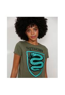 Camiseta Feminina Manga Curta Harry Potter Sonserina Flocada Decote Redondo Verde Militar