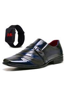 Sapato Social Com Verniz Com Relógio Led Dubuy 632Mr Azul